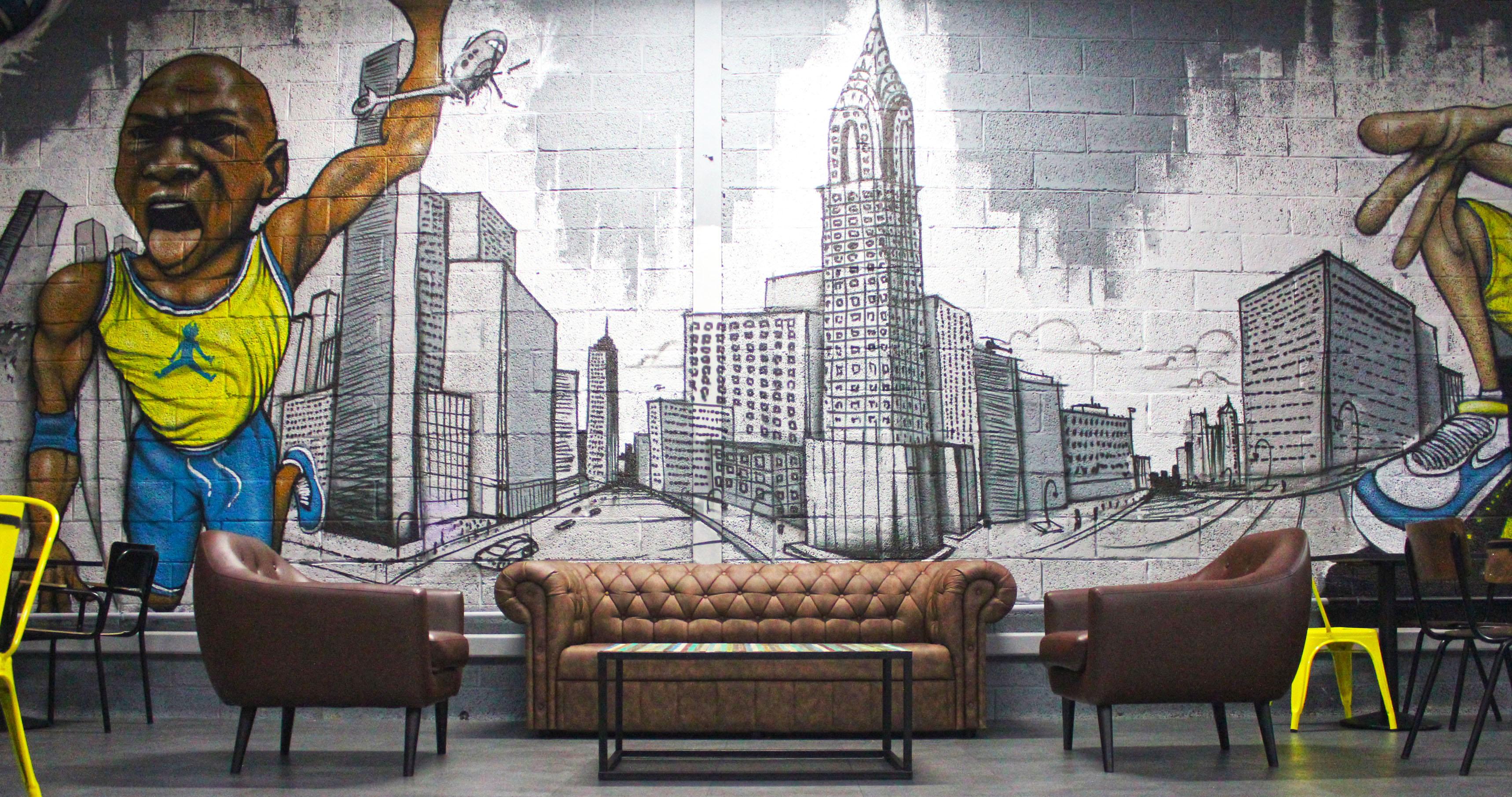 Décoration graffiti street art entreprise enseigne professionnel locaux bureaux