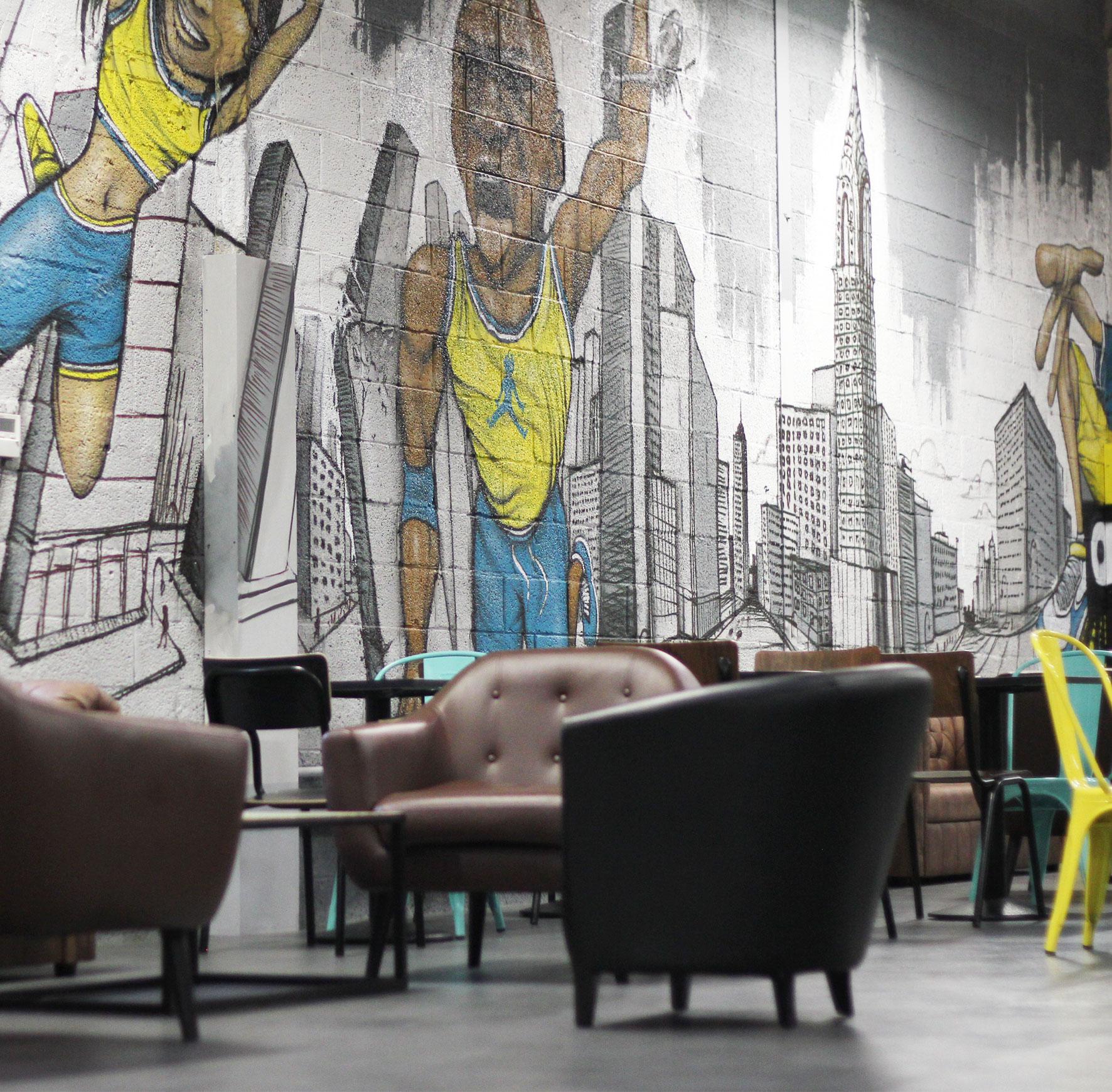 fresque graffiti street art cafétéria