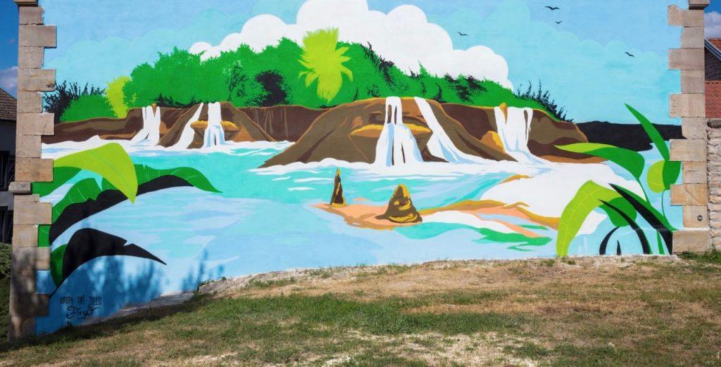 Fresque peinture murale commune, ville, village, municipalité et mairie